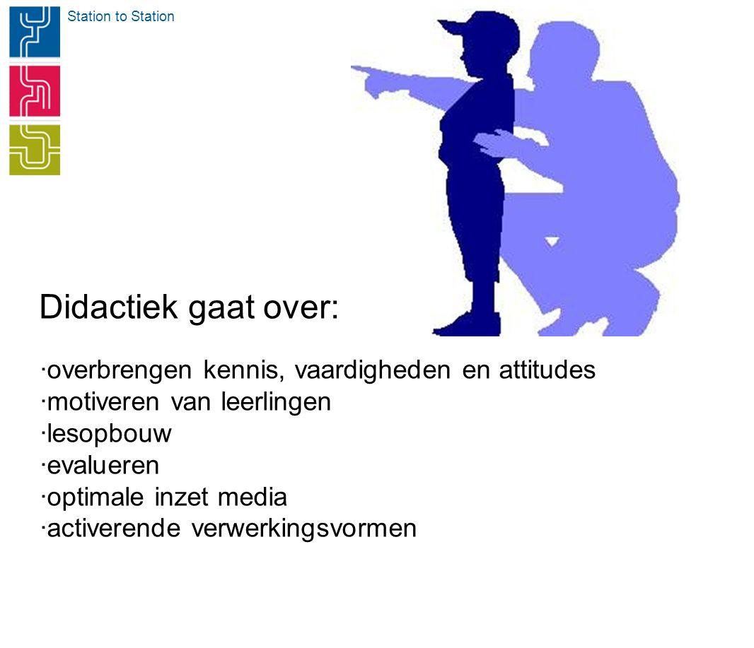 Station to Station Didactiek gaat over: ·overbrengen kennis, vaardigheden en attitudes ·motiveren van leerlingen ·lesopbouw ·evalueren ·optimale inzet