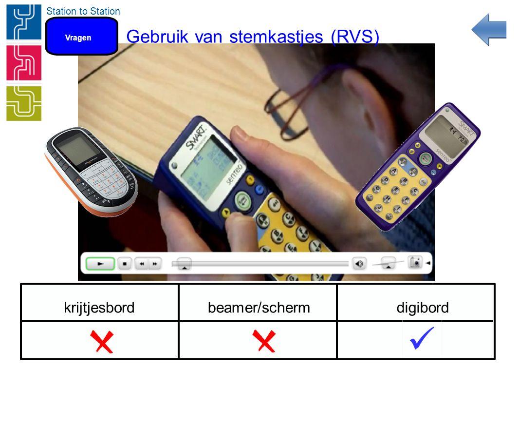 Station to Station Gebruik van stemkastjes (RVS) Vragen krijtjesbordbeamer/schermdigibord