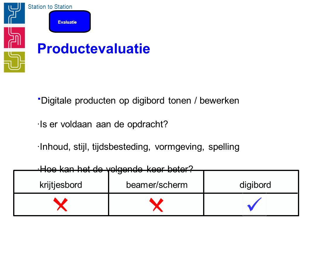 Station to Station Productevaluatie · Digitale producten op digibord tonen / bewerken ·Is er voldaan aan de opdracht? ·Inhoud, stijl, tijdsbesteding,