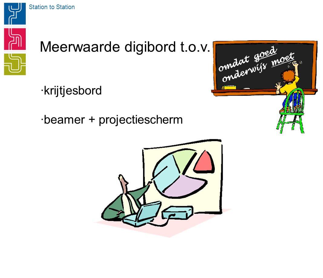 Station to Station Meerwaarde digibord t.o.v. ·krijtjesbord ·beamer + projectiescherm