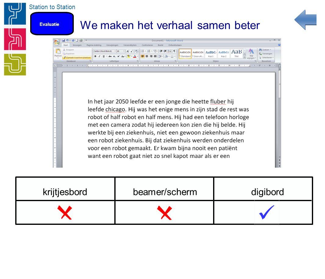 Station to Station We maken het verhaal samen beter Evaluatie krijtjesbordbeamer/schermdigibord
