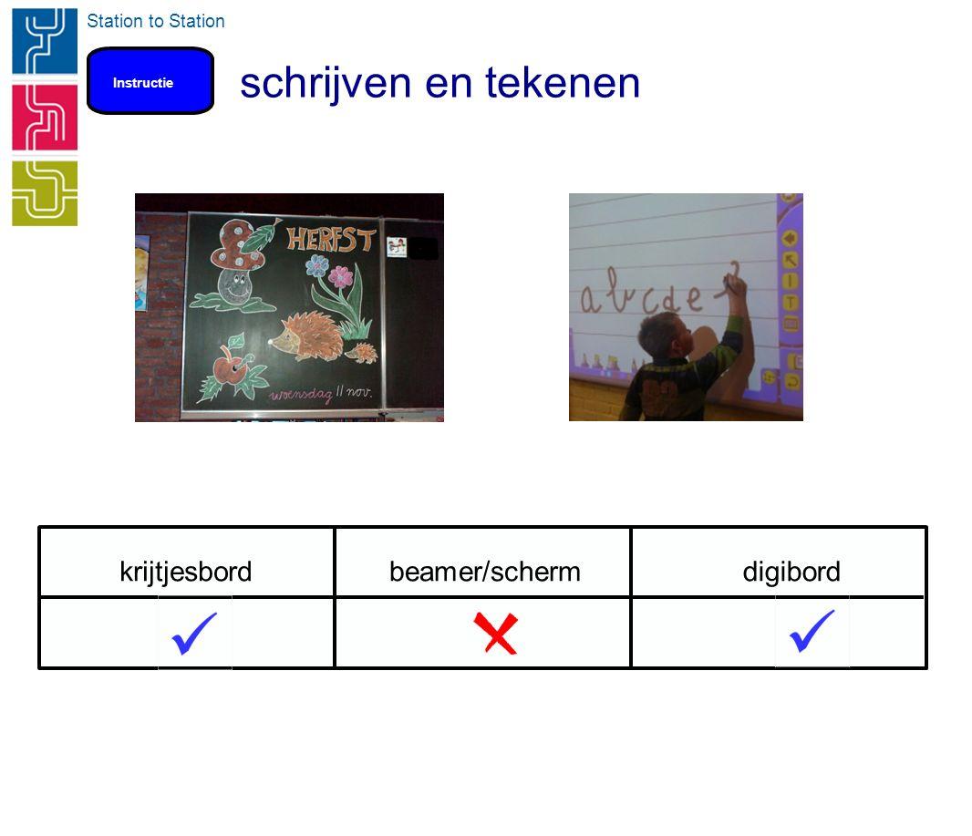 Station to Station schrijven en tekenen Instructie krijtjesbordbeamer/schermdigibord