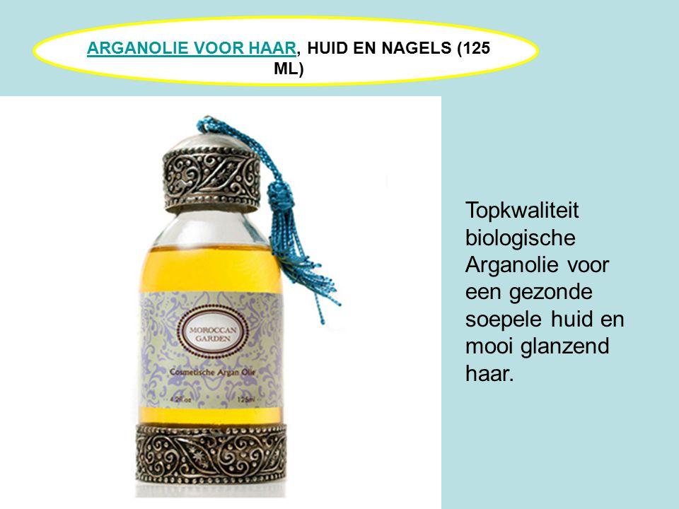 ARGANOLIE VOOR HAARARGANOLIE VOOR HAAR, HUID EN NAGELS (125 ML) Topkwaliteit biologische Arganolie voor een gezonde soepele huid en mooi glanzend haar.