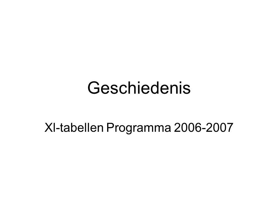 Geschiedenis Xl-tabellen Programma 2006-2007