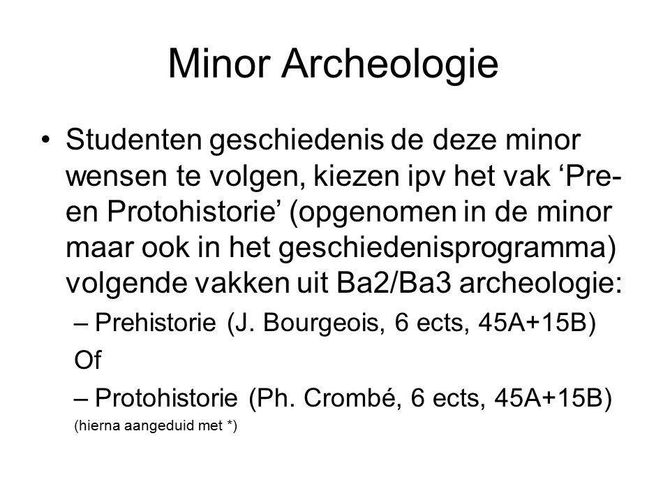 Minor Archeologie Studenten geschiedenis de deze minor wensen te volgen, kiezen ipv het vak 'Pre- en Protohistorie' (opgenomen in de minor maar ook in het geschiedenisprogramma) volgende vakken uit Ba2/Ba3 archeologie: –Prehistorie (J.