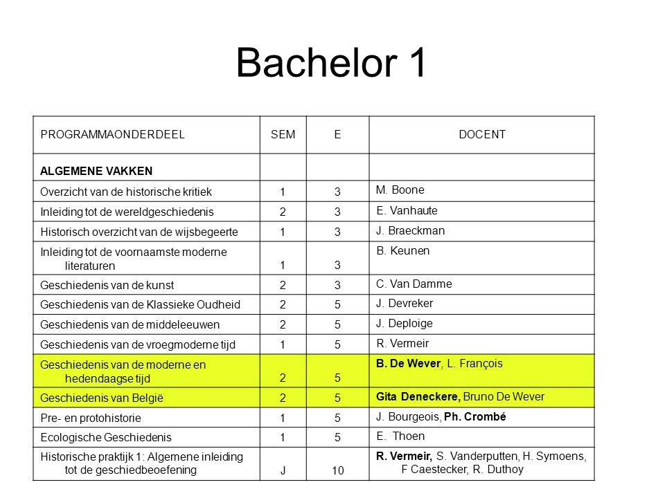 Bachelor 1 PROGRAMMAONDERDEELSEMEDOCENT ALGEMENE VAKKEN Overzicht van de historische kritiek13 M.