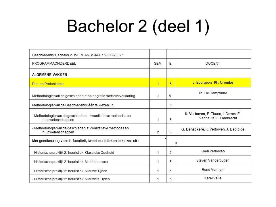Bachelor 2 (deel 1) Geschiedenis: Bachelor 2 OVERGANGSJAAR 2006-2007* PROGRAMMAONDERDEELSEMEDOCENT ALGEMENE VAKKEN Pre- en Protohistorie15 J.