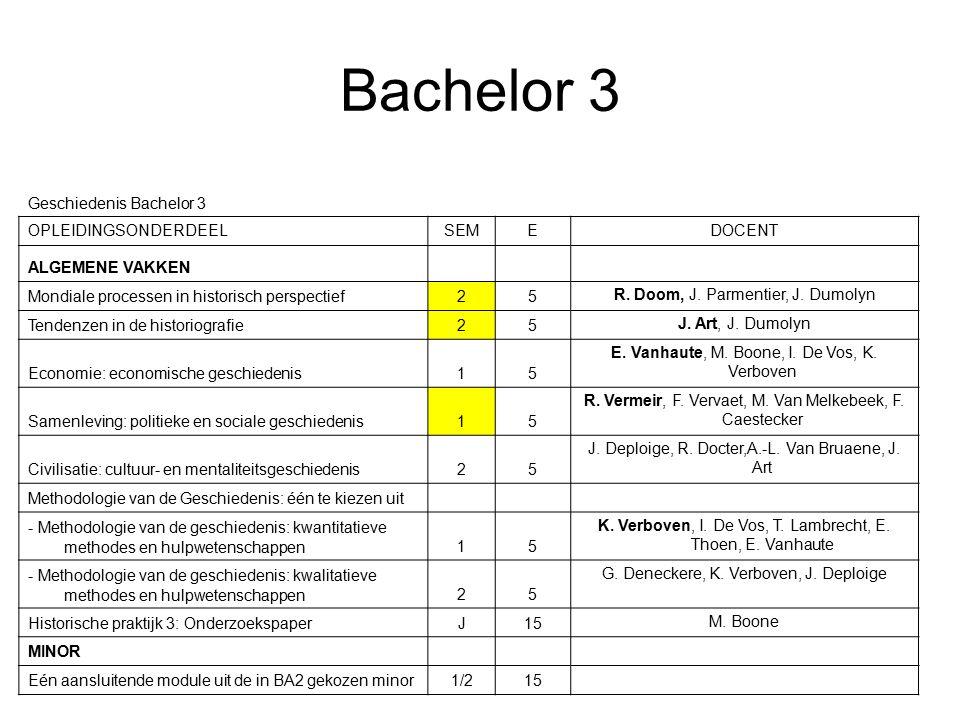 Bachelor 3 Geschiedenis Bachelor 3 OPLEIDINGSONDERDEELSEMEDOCENT ALGEMENE VAKKEN Mondiale processen in historisch perspectief25 R.