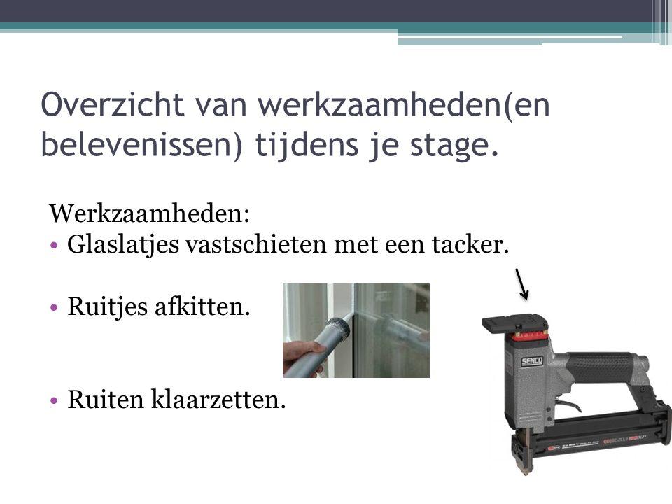 Overzicht van werkzaamheden(en belevenissen) tijdens je stage.