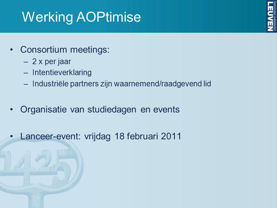 Werking AOPtimise Consortium meetings: –2 x per jaar –Intentieverklaring –Industriële partners zijn waarnemend/raadgevend lid Organisatie van studiedagen en events Lanceer-event: vrijdag 18 februari 2011