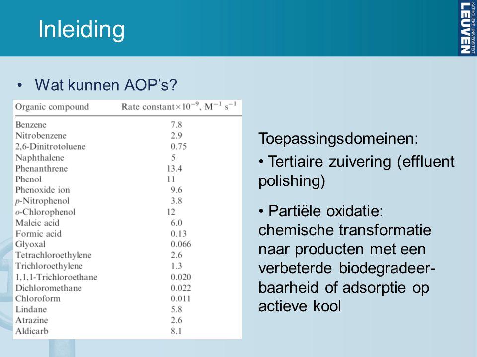 Inleiding Wat kunnen AOP's? Toepassingsdomeinen: Tertiaire zuivering (effluent polishing) Partiële oxidatie: chemische transformatie naar producten me