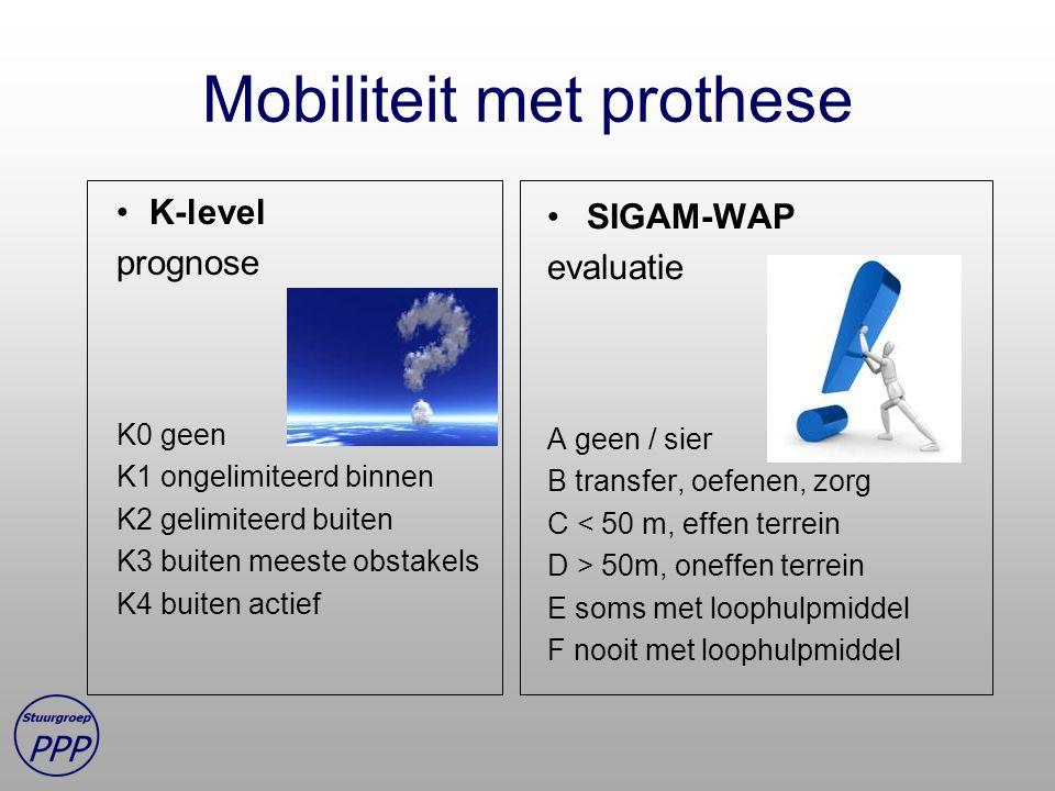 Mobiliteit met prothese K-level prognose K0 geen K1 ongelimiteerd binnen K2 gelimiteerd buiten K3 buiten meeste obstakels K4 buiten actief SIGAM-WAP evaluatie A geen / sier B transfer, oefenen, zorg C < 50 m, effen terrein D > 50m, oneffen terrein E soms met loophulpmiddel F nooit met loophulpmiddel