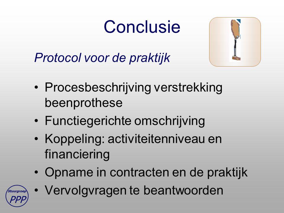 Conclusie Protocol voor de praktijk Procesbeschrijving verstrekking beenprothese Functiegerichte omschrijving Koppeling: activiteitenniveau en financiering Opname in contracten en de praktijk Vervolgvragen te beantwoorden