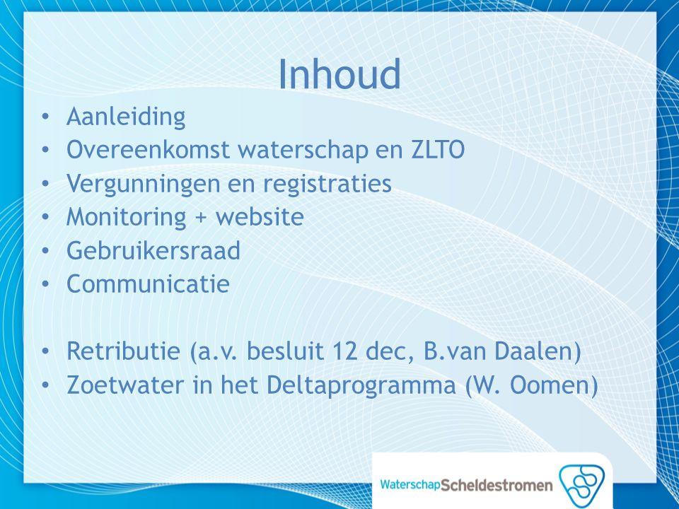 Inhoud Aanleiding Overeenkomst waterschap en ZLTO Vergunningen en registraties Monitoring + website Gebruikersraad Communicatie Retributie (a.v.
