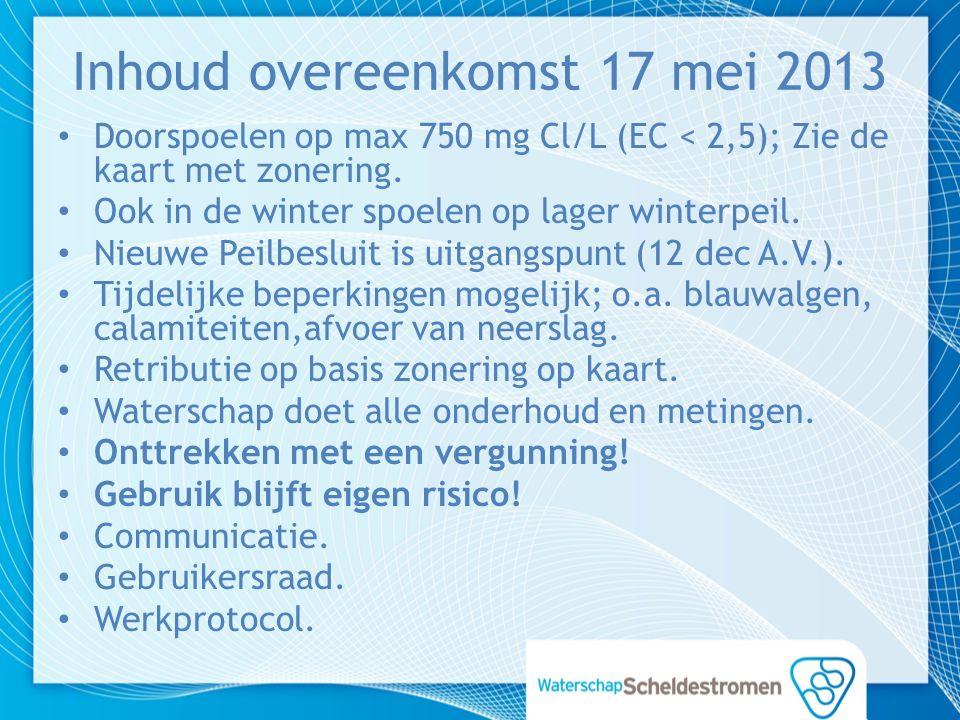 Inhoud overeenkomst 17 mei 2013 Doorspoelen op max 750 mg Cl/L (EC < 2,5); Zie de kaart met zonering.
