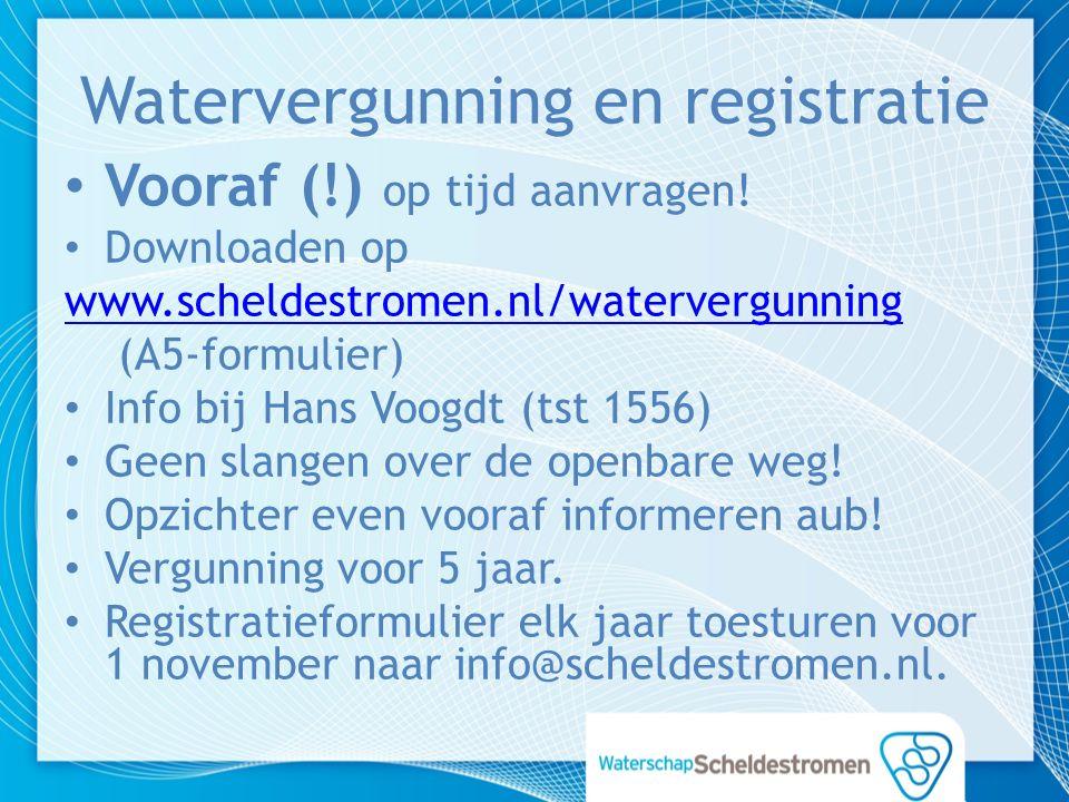 Watervergunning en registratie Vooraf (!) op tijd aanvragen.