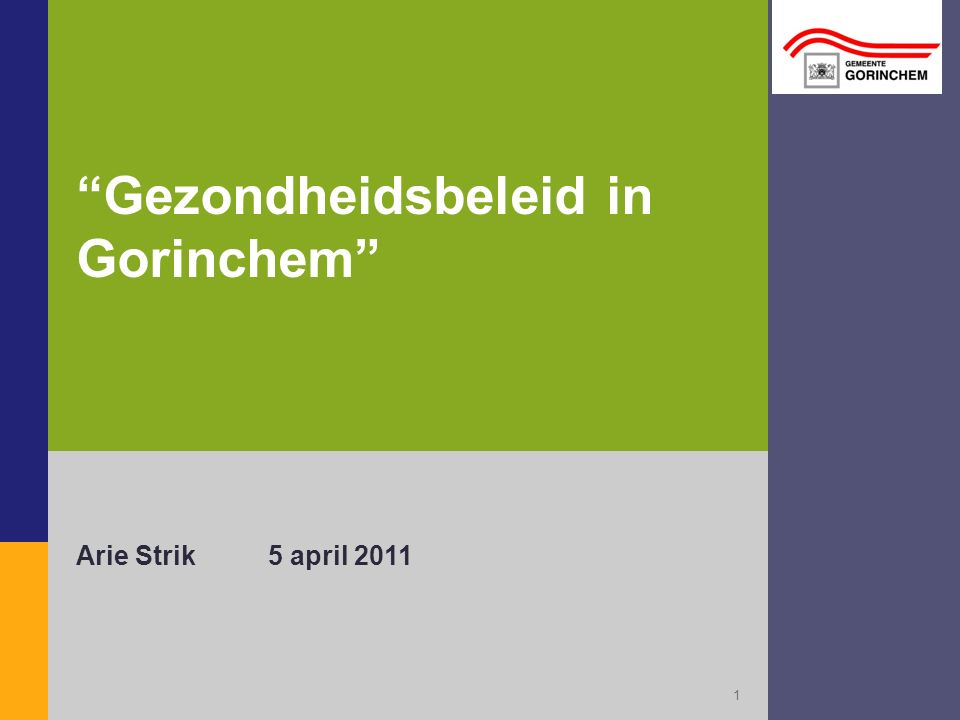 Gezondheidsbeleid in Gorinchem Arie Strik5 april 2011 1