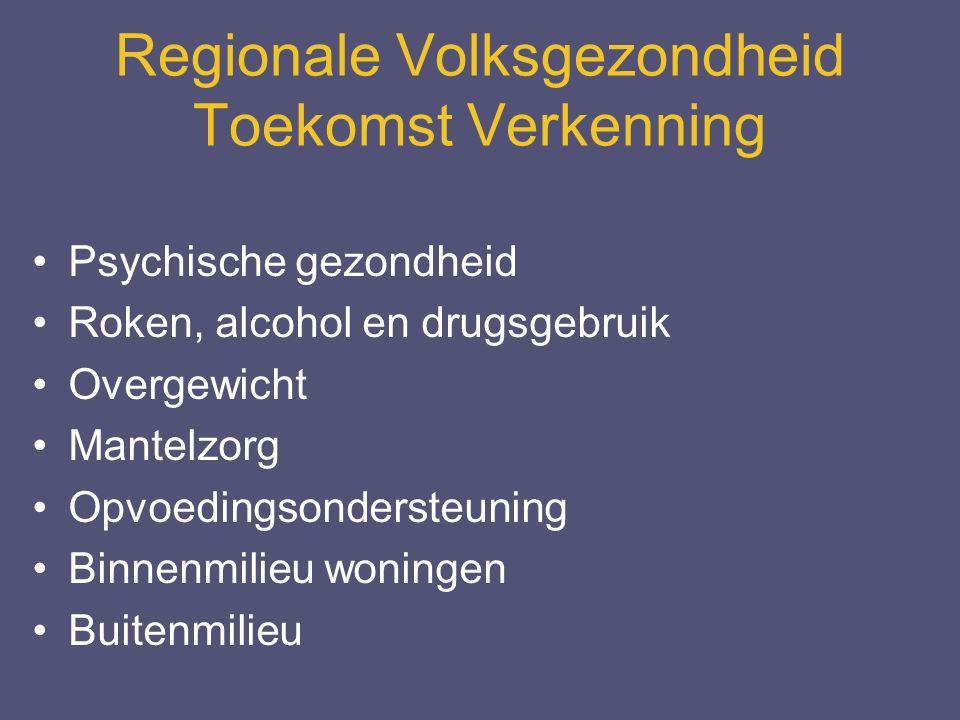 Regionale Volksgezondheid Toekomst Verkenning Psychische gezondheid Roken, alcohol en drugsgebruik Overgewicht Mantelzorg Opvoedingsondersteuning Binnenmilieu woningen Buitenmilieu