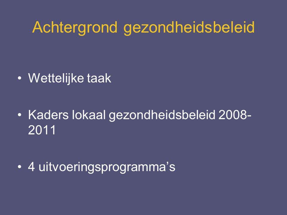 Achtergrond gezondheidsbeleid Wettelijke taak Kaders lokaal gezondheidsbeleid 2008- 2011 4 uitvoeringsprogramma's