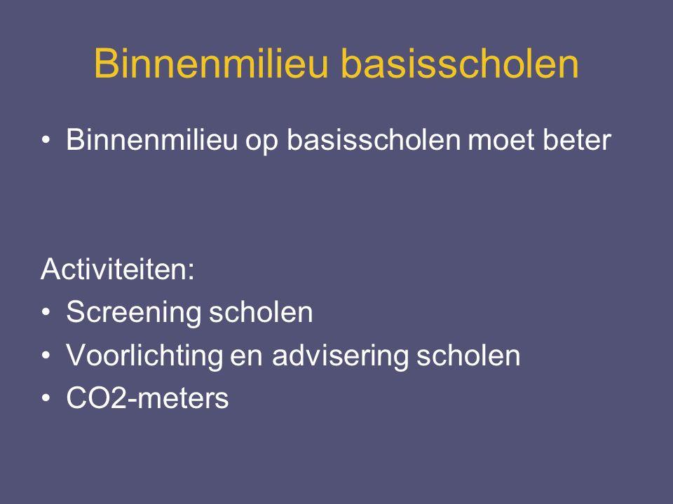 Binnenmilieu basisscholen Binnenmilieu op basisscholen moet beter Activiteiten: Screening scholen Voorlichting en advisering scholen CO2-meters