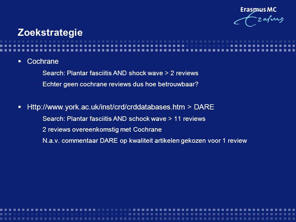 Zoekstrategie  Cochrane  Search: Plantar fasciitis AND shock wave > 2 reviews  Echter geen cochrane reviews dus hoe betrouwbaar?  Http://www.york.