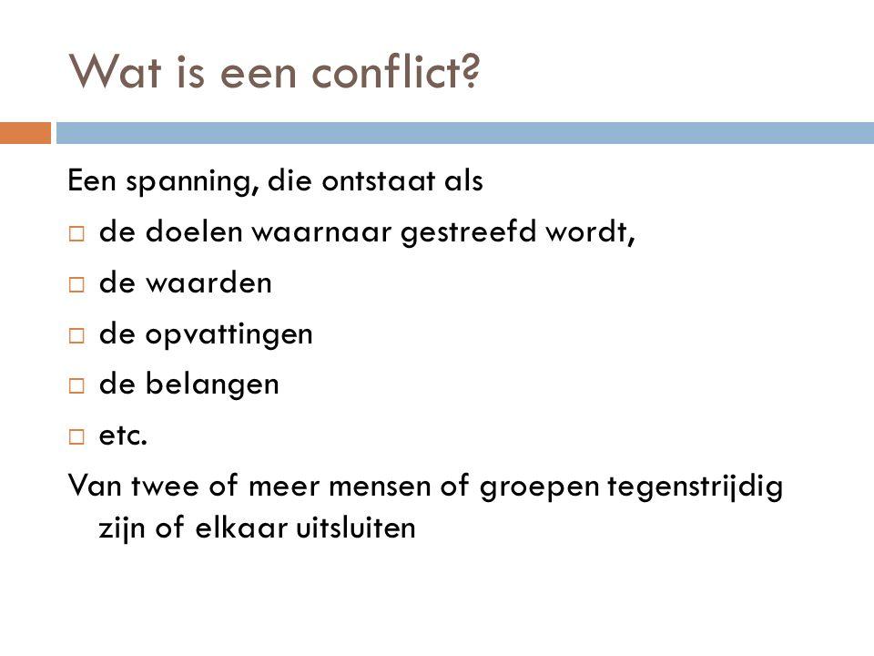 Conflictniveaus We kunnen de volgende conflictniveaus onderscheiden: 1.