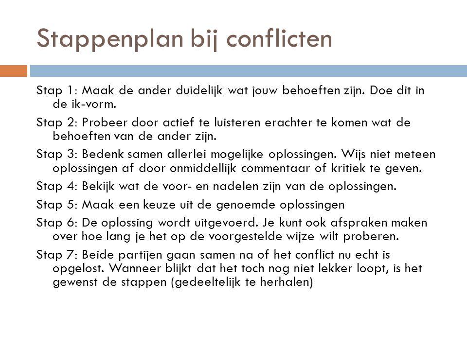 Stappenplan bij conflicten Stap 1: Maak de ander duidelijk wat jouw behoeften zijn.