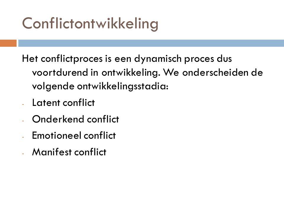 Latent conflict  Verschillende doelen tussen groepen/individuen  Conflict wordt nog niet waargenomen  Wordt soms vanzelf opgelost  Kan ook verder worden ontwikkeld naar een verder stadium
