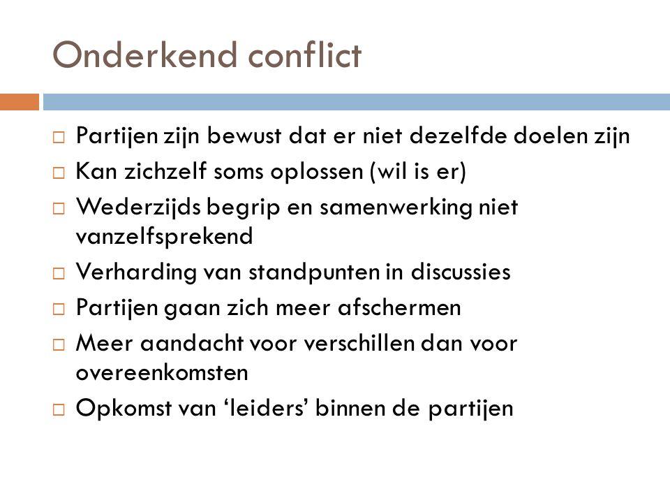 Compromissen sluiten (verschil delen)  Men zoekt naar een middenoplossing waarin iedere partij iets van zijn standpunt kan terugvinden