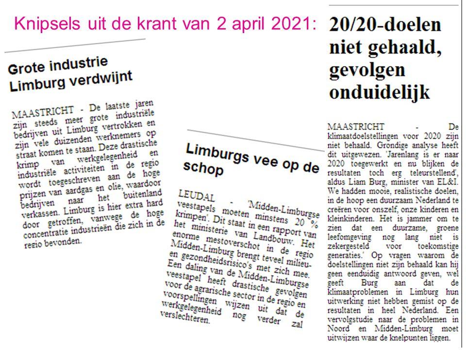 Knipsels uit de krant van 2 april 2021: