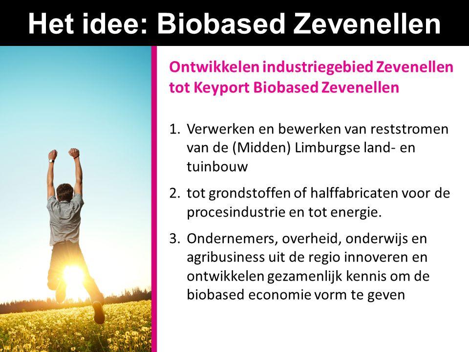 Het idee: Biobased Zevenellen Ontwikkelen industriegebied Zevenellen tot Keyport Biobased Zevenellen 1.Verwerken en bewerken van reststromen van de (Midden) Limburgse land- en tuinbouw 2.tot grondstoffen of halffabricaten voor de procesindustrie en tot energie.