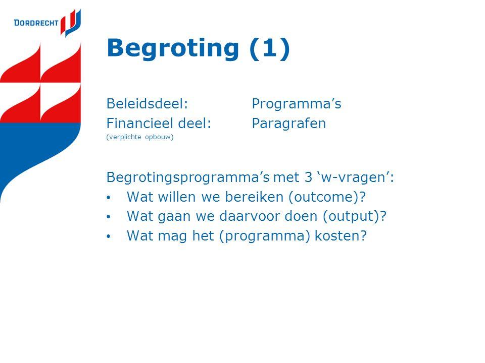 Begroting (1) Beleidsdeel:Programma's Financieel deel:Paragrafen (verplichte opbouw) Begrotingsprogramma's met 3 'w-vragen': Wat willen we bereiken (o