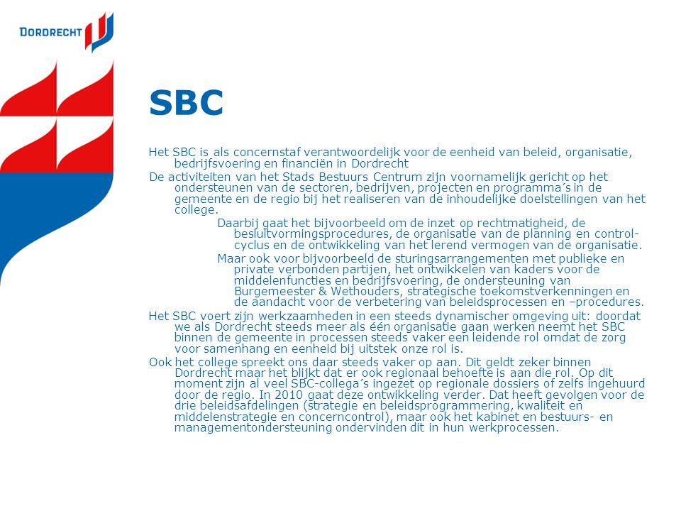 SBC Het SBC is als concernstaf verantwoordelijk voor de eenheid van beleid, organisatie, bedrijfsvoering en financiën in Dordrecht De activiteiten van