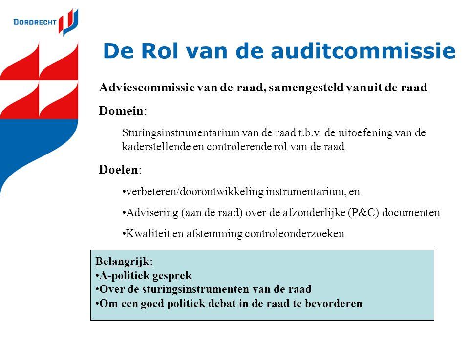 De Rol van de auditcommissie Adviescommissie van de raad, samengesteld vanuit de raad Domein: Sturingsinstrumentarium van de raad t.b.v. de uitoefenin
