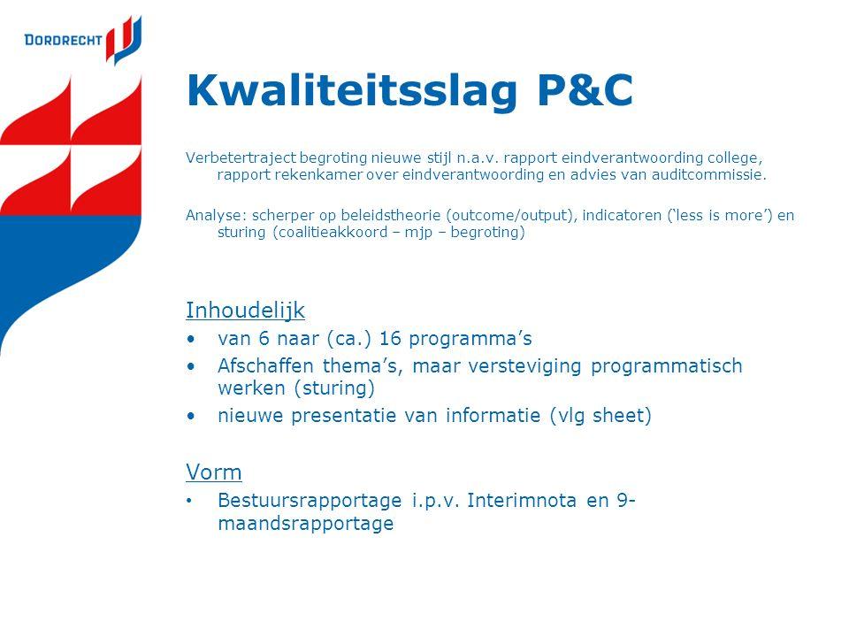 Kwaliteitsslag P&C Verbetertraject begroting nieuwe stijl n.a.v. rapport eindverantwoording college, rapport rekenkamer over eindverantwoording en adv