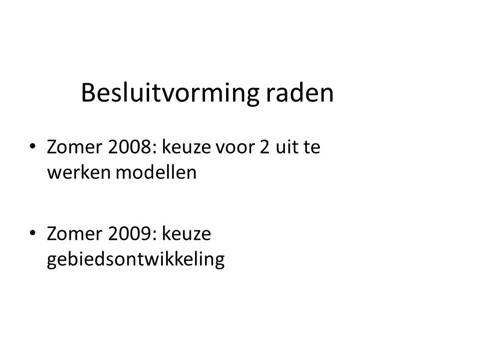 Besluitvorming raden Zomer 2008: keuze voor 2 uit te werken modellen Zomer 2009: keuze gebiedsontwikkeling