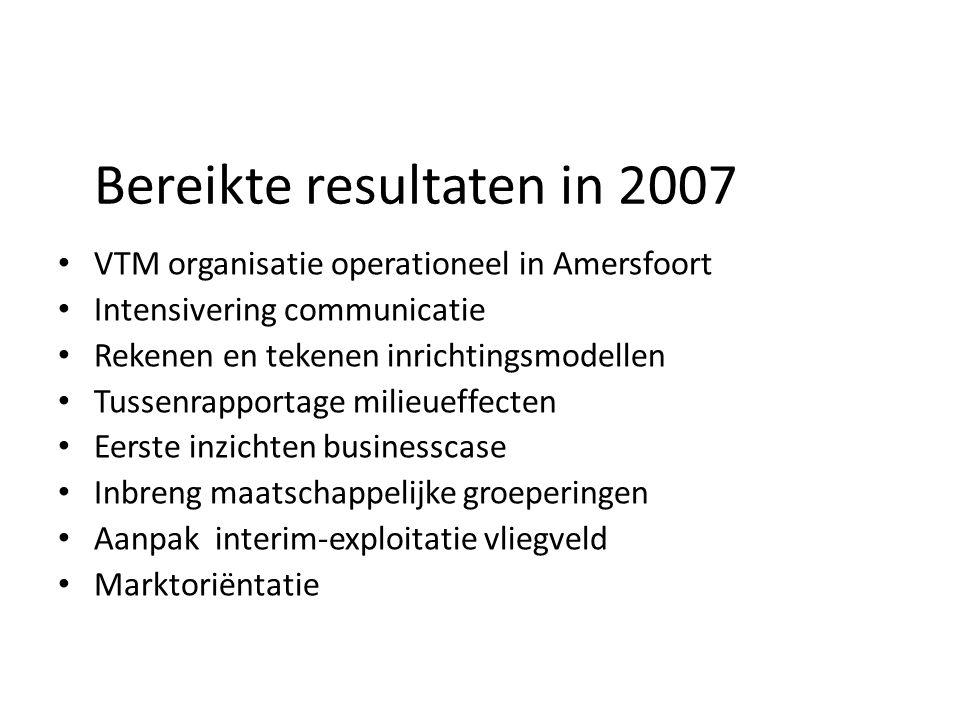 Bereikte resultaten in 2007 VTM organisatie operationeel in Amersfoort Intensivering communicatie Rekenen en tekenen inrichtingsmodellen Tussenrapport