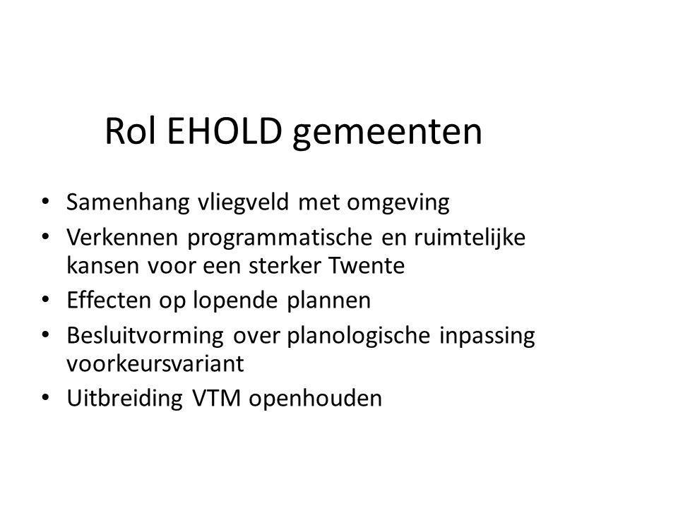 Rol EHOLD gemeenten Samenhang vliegveld met omgeving Verkennen programmatische en ruimtelijke kansen voor een sterker Twente Effecten op lopende plann