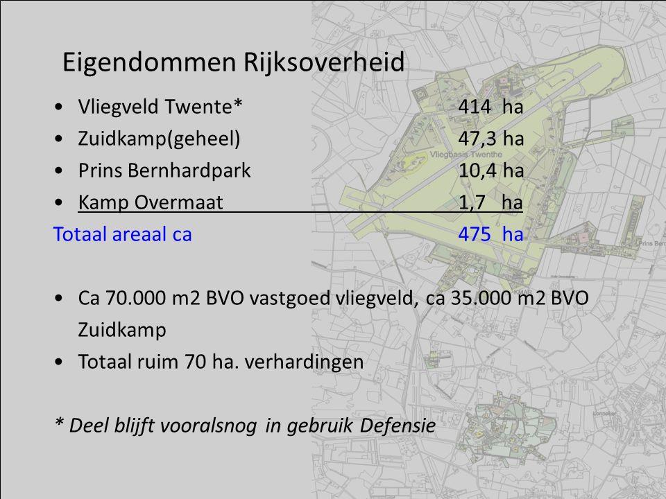 Vliegveld Twente*414 ha Zuidkamp(geheel)47,3 ha Prins Bernhardpark10,4 ha Kamp Overmaat 1,7 ha Totaal areaal ca475 ha Ca 70.000 m2 BVO vastgoed vliegv