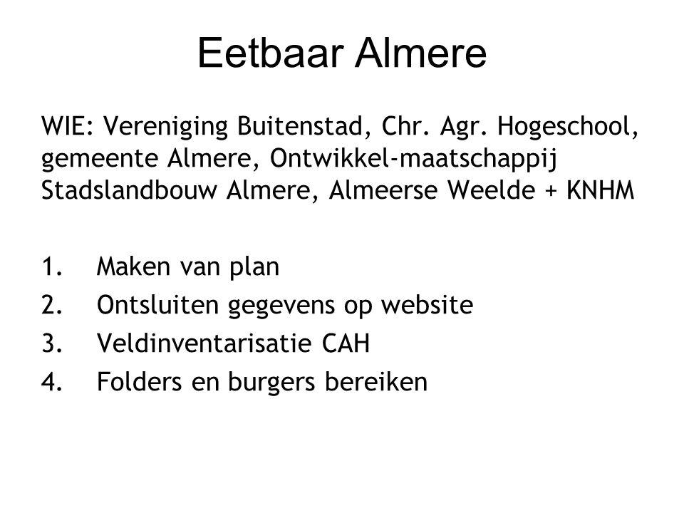 Eetbaar Almere WIE: Vereniging Buitenstad, Chr.Agr.