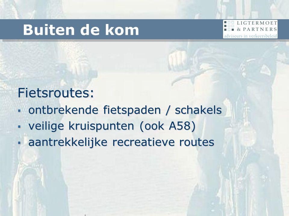 Fietsroutes:  ontbrekende fietspaden / schakels  veilige kruispunten (ook A58)  aantrekkelijke recreatieve routes Buiten de kom