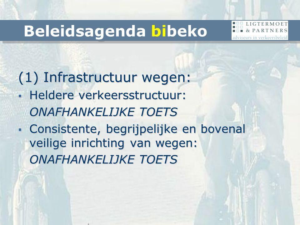 (1) Infrastructuur wegen:  Heldere verkeersstructuur: ONAFHANKELIJKE TOETS  Consistente, begrijpelijke en bovenal veilige inrichting van wegen: ONAFHANKELIJKE TOETS Beleidsagenda bibeko