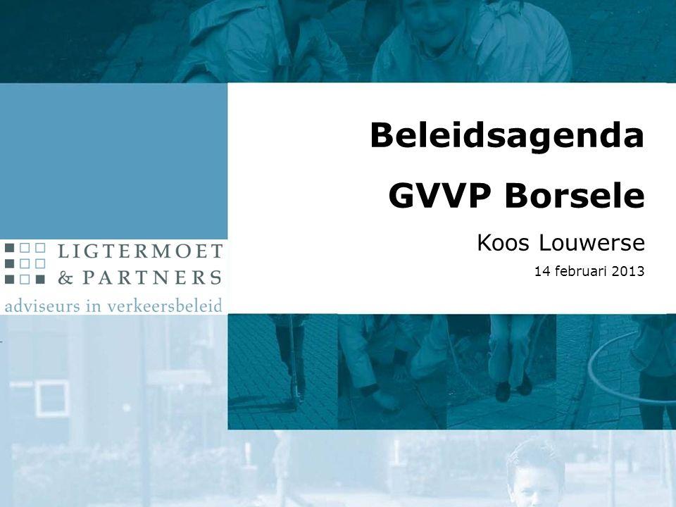  Aanleidingen  Uitgangspunten en doel  Aanpak  Knelpunten en wensen  Beleidsagenda: inhoud en proces Beleidsagenda GVVP