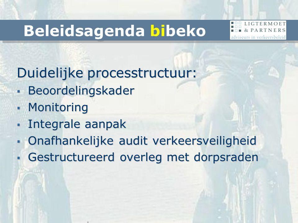 Duidelijke processtructuur:  Beoordelingskader  Monitoring  Integrale aanpak  Onafhankelijke audit verkeersveiligheid  Gestructureerd overleg met dorpsraden Beleidsagenda bibeko