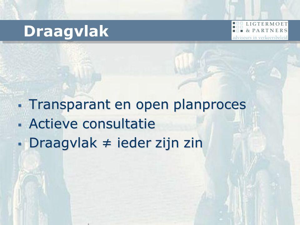  Transparant en open planproces  Actieve consultatie  Draagvlak ≠ ieder zijn zin Draagvlak