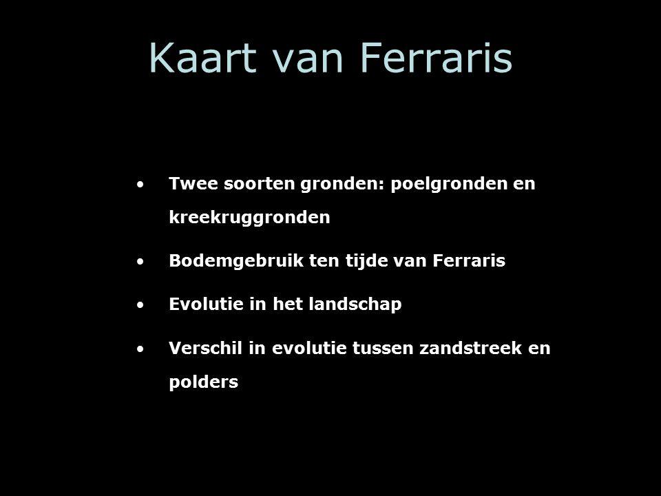 Kaart van Ferraris Twee soorten gronden: poelgronden en kreekruggronden Bodemgebruik ten tijde van Ferraris Evolutie in het landschap Verschil in evolutie tussen zandstreek en polders
