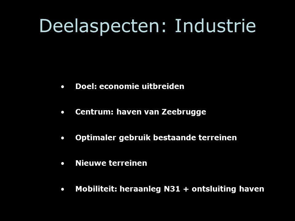 Deelaspecten: Industrie Doel: economie uitbreiden Centrum: haven van Zeebrugge Optimaler gebruik bestaande terreinen Nieuwe terreinen Mobiliteit: heraanleg N31 + ontsluiting haven