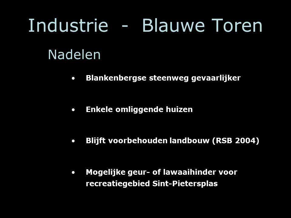 Industrie - Blauwe Toren Blankenbergse steenweg gevaarlijker Enkele omliggende huizen Blijft voorbehouden landbouw (RSB 2004) Mogelijke geur- of lawaaihinder voor recreatiegebied Sint-Pietersplas Nadelen