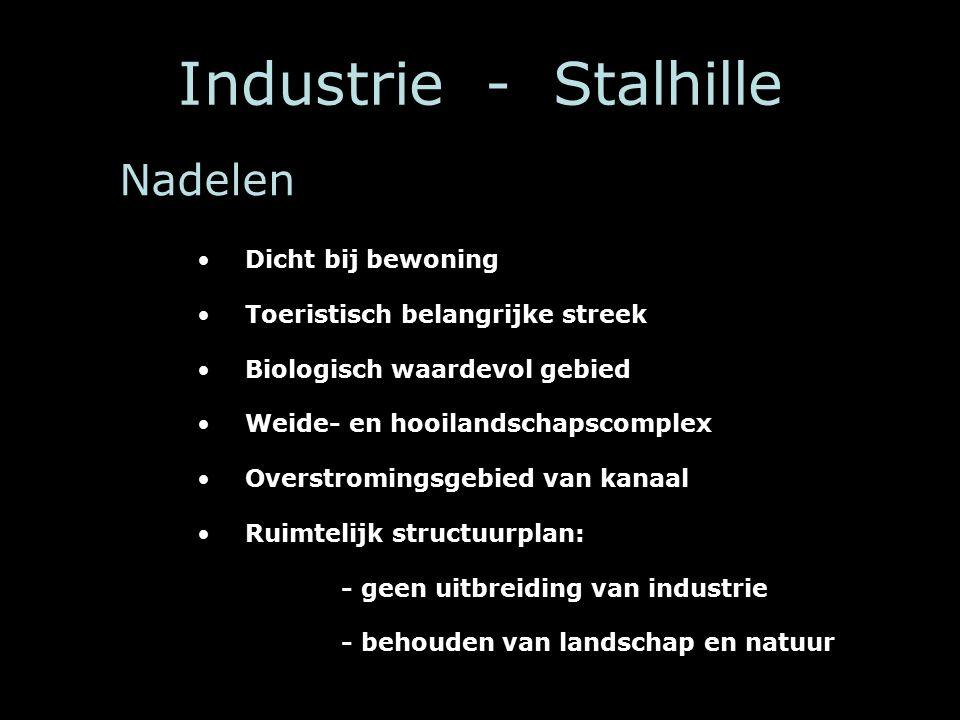 Industrie - Stalhille Dicht bij bewoning Toeristisch belangrijke streek Biologisch waardevol gebied Weide- en hooilandschapscomplex Overstromingsgebied van kanaal Ruimtelijk structuurplan: - geen uitbreiding van industrie - behouden van landschap en natuur Nadelen