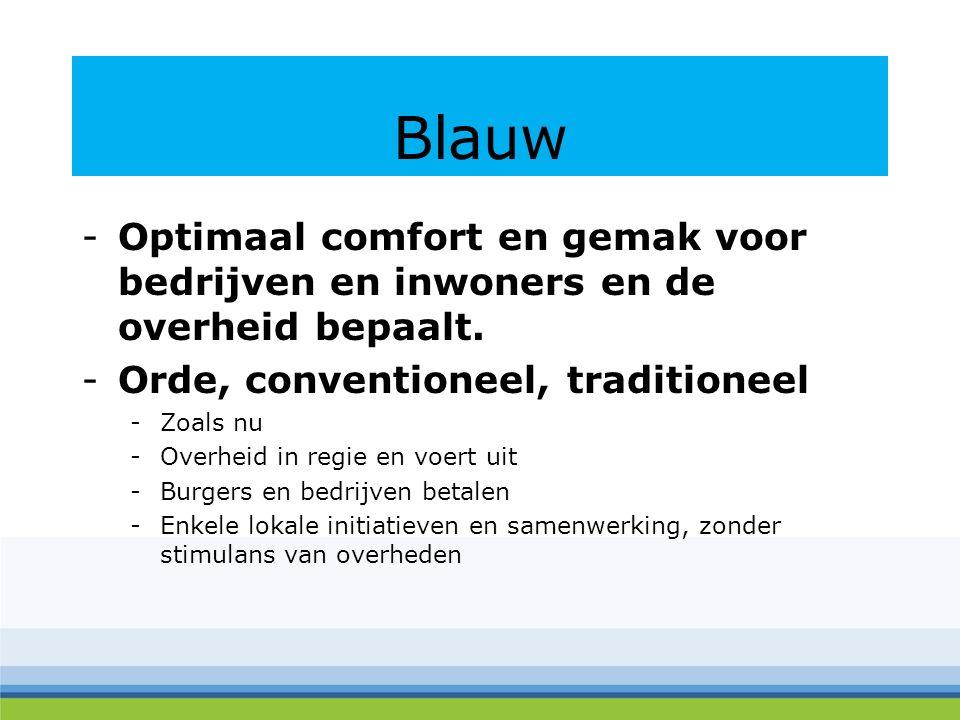 Blauw -Optimaal comfort en gemak voor bedrijven en inwoners en de overheid bepaalt.